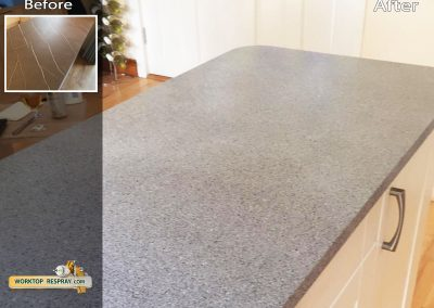 Kitchen Respray worktops Before and After