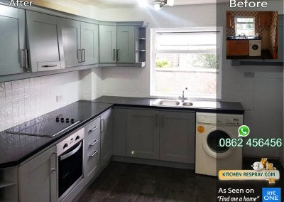 Kitchen Respray Manor House Grey Tiles White
