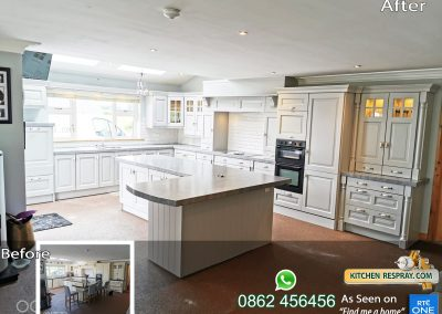 Kitchen Respray Pavillion grey and worktop Castlerock