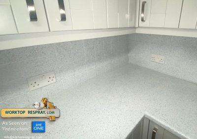 Worktop and tiles resprayed